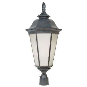 Light Outdoor Post Lamp in Walnut Patina with Pompei Glass glass Home