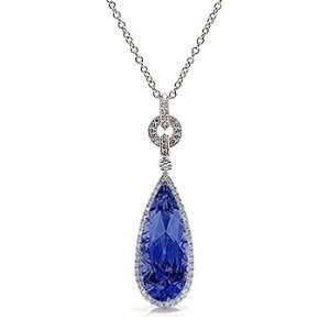 9.17Ct Pear Cut Sapphire & VS Diamond Pendant 18k Gold Jewelry