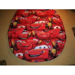 NEW TOILET SEAT LID COVER MADE FROM RED CARS FABRIC