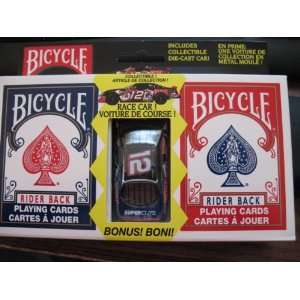 Bicycle 2 Deck Red Blue Playing Cards with Free Die Cast Nascar Race