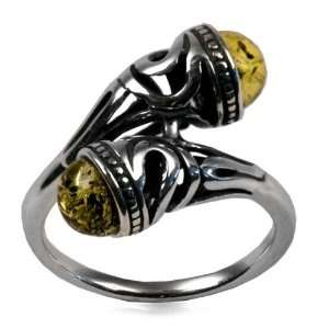 Light Green Color Amber Sterling Silver Celtic Ring Graciana Jewelry
