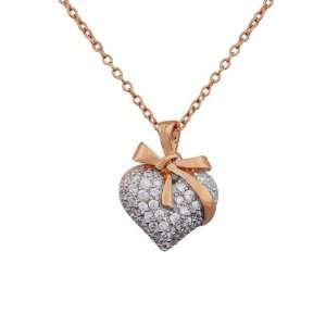 Rose Gold Plated Sterling Silver Cubic Zirconia Gift Heart Pendant