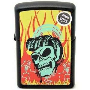 Zippo Skull & Flames Black Matte Finish Lighter 8900