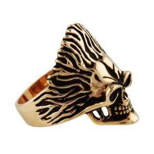 14K Gold Plated 316L Stainless Steel Skull Biker Ring   13 Jewelry