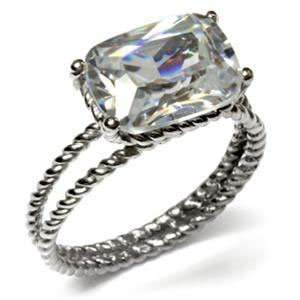 Cut with Round Corners Stainless Steel CZ Engagement Ring Jewelry