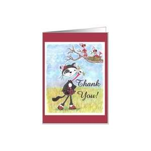 Thank You Note Cat Helps Birds Card: Health & Personal