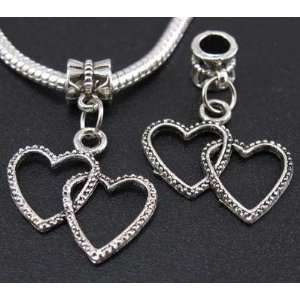 Silver Double Heart Dangle Charm Bead for Bracelet or