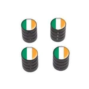Irish Ireland Flag   Tire Rim Valve Stem Caps   Black Automotive
