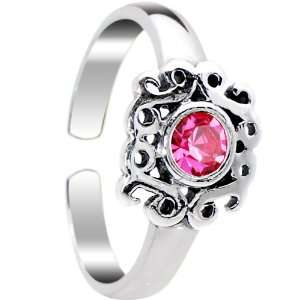 Sterling Silver 925 Pink CZ Princess Leaf Toe Ring Jewelry