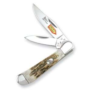 Steel Warrior Copperhead Deer Stag Handle Knife Jewelry