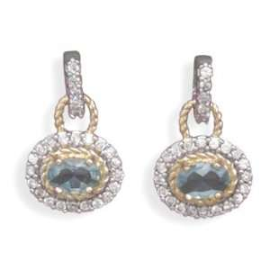 Gold Plated Blue and Clear CZ Earrings West Coast Jewelry Jewelry