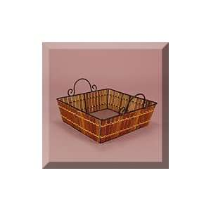 10ea   9 X 9 X 3 Dark Brown Sq. Bamboo Metal Frame Basket