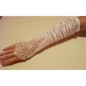White Flowers Bridal Glove Fingerless Satin Lace Pearl G4