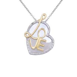 Silver Diamond Accent Love Heart Pendant Necklace, 18 Jewelry