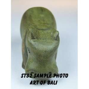 Art of Bali Zen Garden   3 Green Waru Wood Hippopotamus