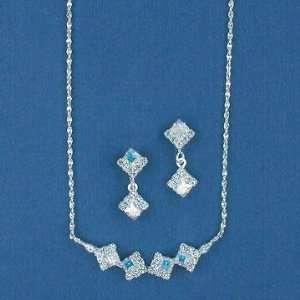 Square Aurora Borealis Crystal Silver Necklace and Earring