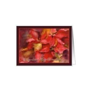 to my Son & Daughter in Law, Christmas card, Poinsettias, watercolor