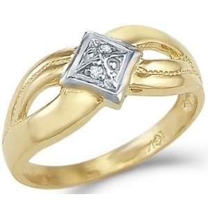 14k Yellow and White Gold Ladies Diamond Shape Ring Jewelry