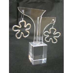 Sterling Silver 925 Charming FLOWER Dangle Earrings