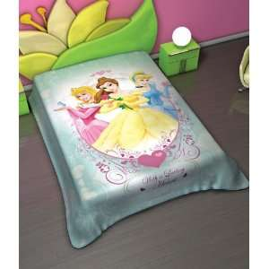 DISNEY PRINCESS TWIN SIZE SUPER SOFT BLANKET BELL CINDERELLA AURORA