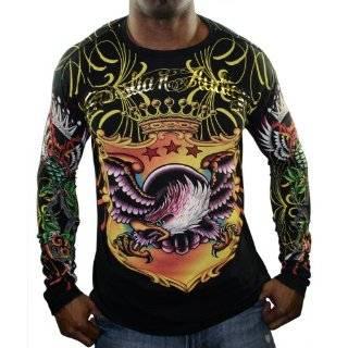 Christian Audigier LS Crown Skull W/ Wings T Shirt Small Christian