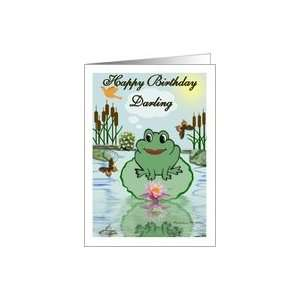Happy Birthday Darling / Cartoon Frog on a lily pad Card