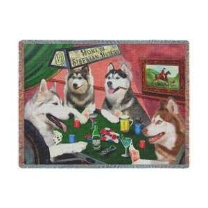 Throw Blanket 4 Dogs Playing Poker 50 x 60:  Home & Kitchen