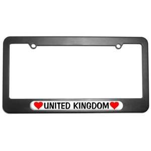 United Kingdom Love with Hearts License Plate Tag Frame