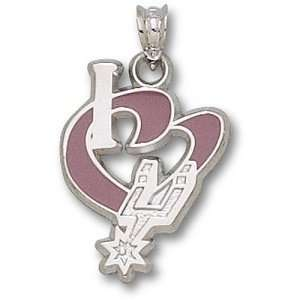 San Antonio Spurs NBA I Heart Logo 3/4 Enamel Pendant
