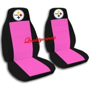 Black and Hot Pink Pittsburgh seat covers. 40/20/40 seats