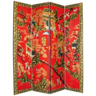 Village Hand Painted Japanese Room Divider Screen  LampsPlus