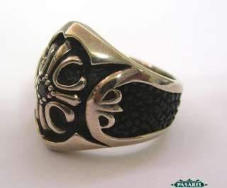 Massive Sterling Silver Onyx And Garnet Tibetan Ring |