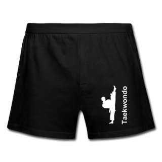 White Taekwondo Upkick Guy on black Boxer Shorts  Mens Boxershorts