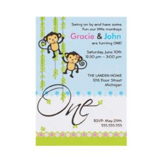 Twin Boy and Girl First Birthday Invitation by OrangeOstrichDesigns