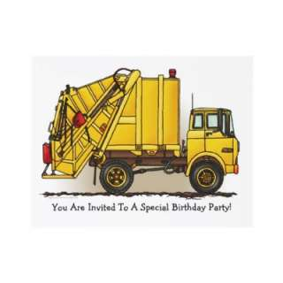 Garbage Truck Yellow Kids Party Invitation by justconstruction