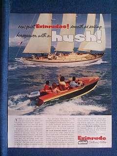 1954 Evinrude Outboard Motors Ad ~ Boat Passes Sailboat