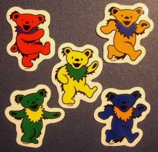 GRATEFUL DEAD   5 dancing bear sticker collection new