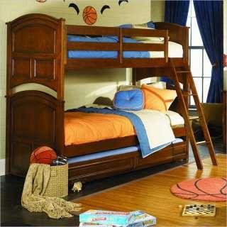 Lea Deer Run Twin Over Twin Wood Bunk Bed in Brown Cherry Finish   625