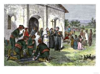 California Mission with Padres, Spanish Soldiers, and Native Americans
