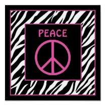Zebra and Pink Peace Sign Wall Decor posters by randomocity