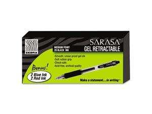 Zebra Sarasa Roller Ball Retractable Gel Pen, Black Ink