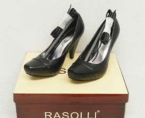 Rasolli Womens Black Ankle Strap Classic Pump Sizes 7 9