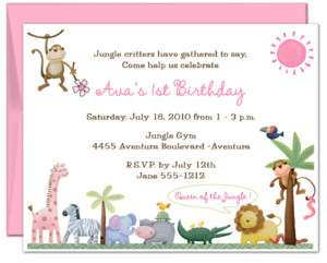 10 QUEEN OF THE JUNGLE ZOO SAFARI birthday invitations