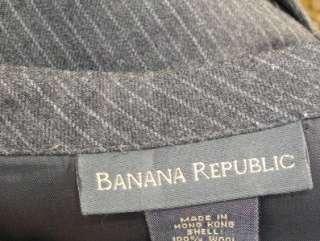 BANANA REPUBLIC Charcoal Gray Pinstripe Wool Mini Skirt ~ Size 6
