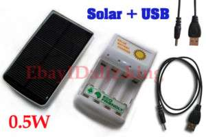 5W Solar Battery Charger + USB Charger for 5# 7# dry cell 4pcs AA