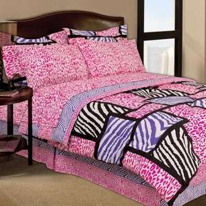 pink purple black zebra bed in a bag twin full or queen