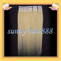 Remy Tape skin human hair extensions #613 Light blonde,30g &20pcs New