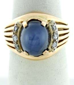 18K GOLD LONDON BLUE STAR SAPPHIRE DIAMOND CUSTOM RING