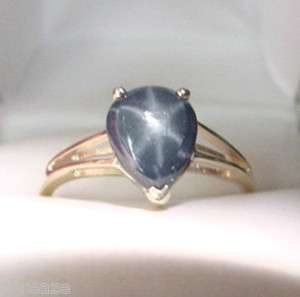 GENUINE BLUE STAR SAPPHIRE PEAR SHAPE 14K GOLD RING