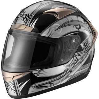 GLX DOT Tribal Full Face Motorcycle Helmet, Silver, XXXL